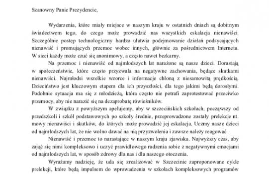 Apel do Prezydenta Piotra Krzystka o prelekcje nt. mowy nienawiści